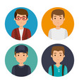 set of millennial young people vector image vector image