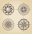 set vintage old antique nautical compass roses vector image