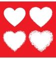 set white hand drawn grunge hearts vector image vector image