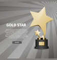 shiny gold star on stand realistic vector image vector image