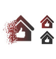 sparkle pixelated halftone thumb up building icon vector image