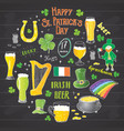 st patricks day hand drawn doodle set with vector image