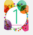 template 1 anniversary congratulations greeting vector image vector image