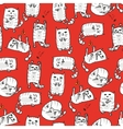 White cute cats seamless background vector image vector image