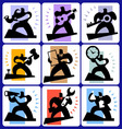 Working man icons vector image