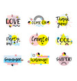 hand drawn phrases collection memphis style vector image