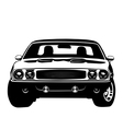 American muscle car legend silhouette vector image