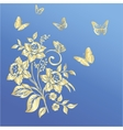Elegance pattern with flowers narcissus on blue vector image