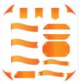 Orange ribbons set isolated on white background vector image