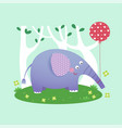 a cute elephant with a balloon vector image