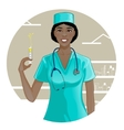 African american nurse with syringe eps10 vector image vector image