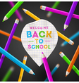 Back to school - paper map pointer and pencils vector image