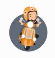 bearded man hipster riding a motorbike vector image vector image