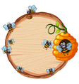 bee on wooden template vector image