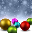 Blue background with christmas balls vector image