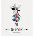 Bohemian fashion girl bunny rabbit boho style vector image vector image