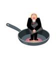 businessman in frying pan sinner in cauldron boss vector image vector image