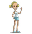 cartoon blonde smiling girl character vector image vector image