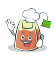 chef tea bag character cartoon vector image vector image