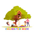 children tree house cartoon vector image