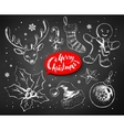 Christmas chalked set vector image vector image