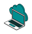 cloud storage with laptop computer icon image vector image vector image
