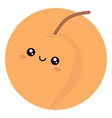 cute peach on white background vector image vector image