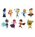 cute superhero kids in colorful costumes kids vector image