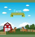 farm scene organic products label vector image