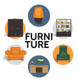 flat furniture round concept vector image vector image