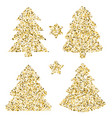 four christmas trees at greeting card art with vector image