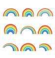geometric rainbow shapes set colorful curves vector image
