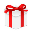 gift box with red color bow knot and ribbon vector image
