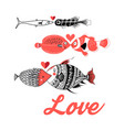 greeting card with love fish vector image vector image