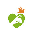 hand and bird on heart shape background vector image vector image