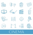 Hand drawn cinema icon set vector image vector image