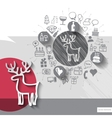 Hand drawn deer icons with icons background vector image vector image