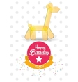 happy birthday card giraffe ballon shape confetti vector image vector image