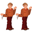 Happy cartoon man standing in brown uniform with vector image vector image
