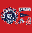 indian chief head mascot in set vector image vector image