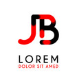 initial letter jb with red black and has rounded vector image vector image