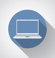 Laptop flat icon with long shadow vector image vector image