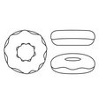 line art black and white donut set vector image vector image