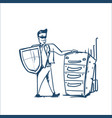 man in business suit shield standing near raw of vector image vector image