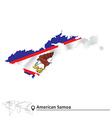 Map of American Samoa with flag vector image vector image