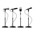 microphones on stands stage standing microphones vector image vector image