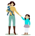Mother and daughter and baby boy isolated vector image