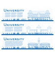 outline set of university study banners vector image vector image