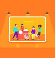 people customers with trolley carts standing line vector image vector image