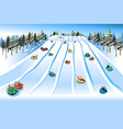 people having fun sledding on tubing hill during vector image vector image